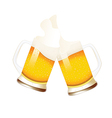 Beer mugs with splashing foam