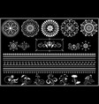 calligraphy pattern and border on black background vector image vector image