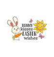 cartoon style easter bunny greeting card vector image vector image