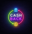 cash back neon logo cash back neon sign vector image