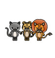 color crayon silhouette caricature cat tiger and vector image