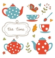 Colorful tea party set vector image vector image
