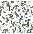 floral black pattern with leaves and berries vector image