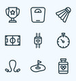game icons line style set with drugs jumping rope vector image