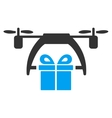 Gift Drone Delivery Icon vector image vector image