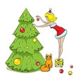 Girl cat and Christmas tree vector image