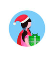 girl wearing hat holding gift box happy new year vector image vector image