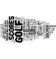 golf score text background word cloud concept vector image vector image