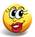 Happy face on yellow ball vector image vector image
