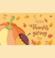 happy thanksgiving day pumpkin acorn foliage vector image