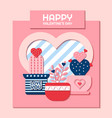 happy valentines day with potted cactus vector image