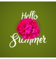 Hello summer lettering typography with red flower vector image vector image