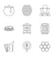 Honey icons set outline style vector image vector image