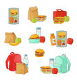 lunchbox with snacks vegetables set vector image