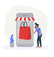 man using smartphone with shop online vector image vector image