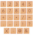 number and math icon on wooden block vector image vector image