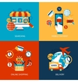 Online shopping flat set vector image vector image