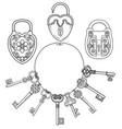retro locks and keys vector image