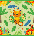 seamless pattern with cute tiger and lion vector image