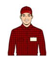 seller guy pop art vector image vector image