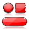set of 3d red glass buttons with metal frame vector image vector image