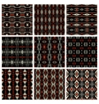 set of nine tribal patterns vector image