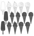 set of with ice cream vector image