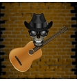 skull blues with brick and hat guitar vector image vector image