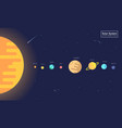 solar system planets and sun flat design style vector image vector image