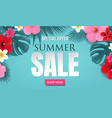 summer sale with tropical border blue background vector image vector image