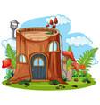 tree stump fairy house vector image