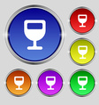 Wine glass Alcohol drink icon sign Round symbol on vector image