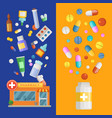 medicines vertical banner templates with vector image