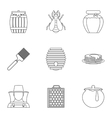 Beekeeping farm icons set outline style vector image vector image