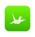 bird origami icon digital green vector image vector image
