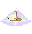 boat voyage miniature painting vector image