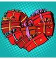 Box gift heart shaped Valentines day vector image vector image