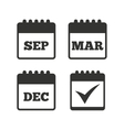Calendar icons September March December vector image vector image