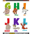 cartoon alphabet set with comic animal characters vector image vector image
