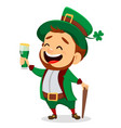 cartoon funny leprechaun holding a glass of beer vector image vector image