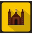 Christian catholic church building icon flat style vector image vector image