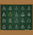christmas tree chalk draw line icons set vector image