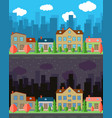 city with four houses vector image