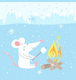 cute rat on winter vacation vector image vector image