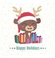 cute reindeer sitting on top of gift pile vector image vector image
