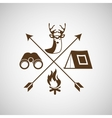 deer camp camping fire binoculars vector image