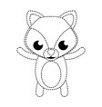 dotted shape happy fox cute wild animal vector image