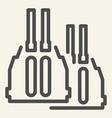 double barreled gun line icon ammunition vector image