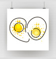drawing of scrambled eggs on a white canvas vector image vector image