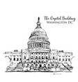 drawing sketch capitol building in usa vector image